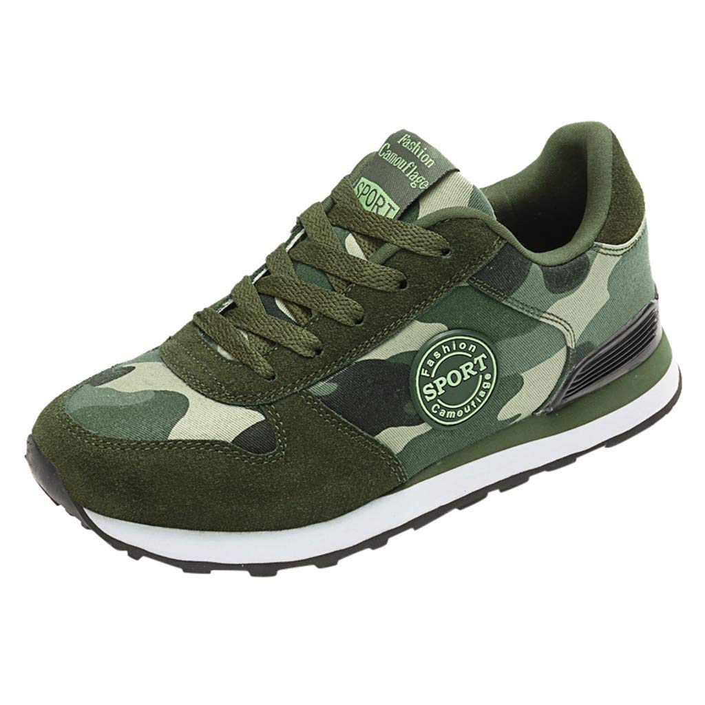 GINELO Women's Mens Couples Camouflage Canvas Breathable Sport Running Walking Round Toe Shoes Sneakers
