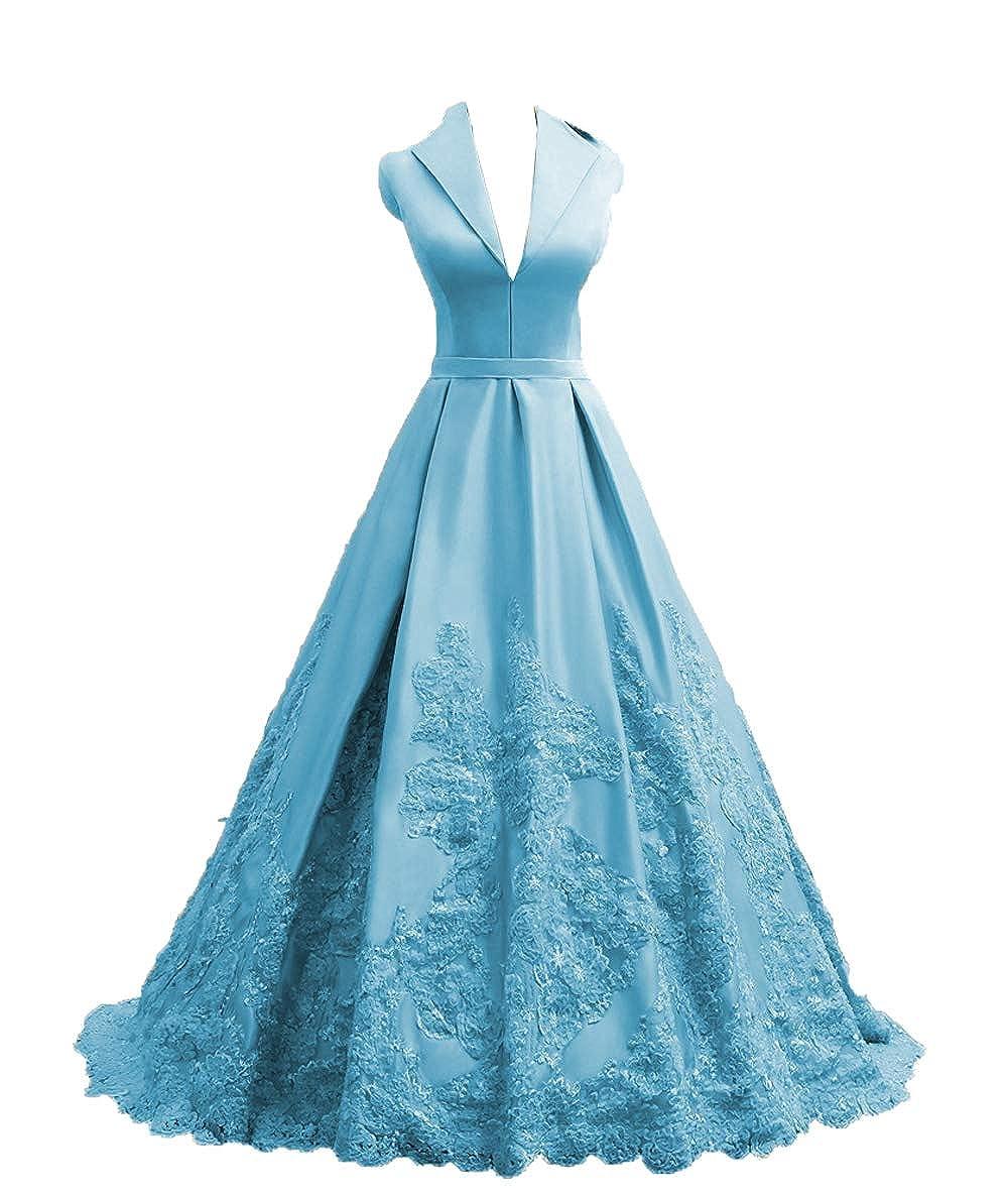 bluee MariRobe Women's Lace Applique Quinceanera Dress V Neck Prom Dresses A line Satin Evening Dress Sweet 16 Dress Prom Gown