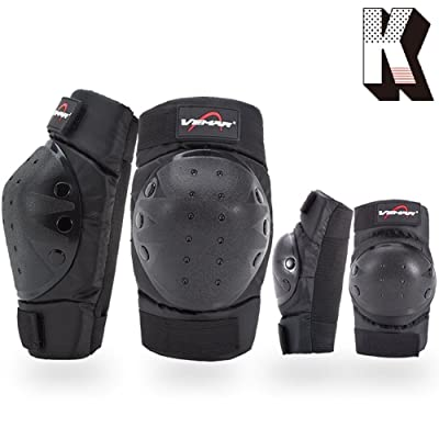 Kagogo Shin Guards Adult Elbow & Knee Pads Protector Flexible Breathable Adjustable Elbow Armor for Motorcycle Motocross Racing Mountain Bike, One size Fits Most, 4 Pieces Black (Black185) : Sports & Outdoors