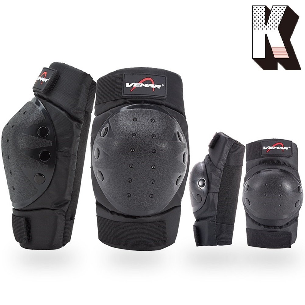Kagogo Shin Guards Adult Elbow & Knee Pads Protector Flexible Breathable Adjustable Elbow Armor for Motorcycle Motocross Racing Mountain Bike, One size Fits Most,4 Pieces Black (Black185) by Kagogo