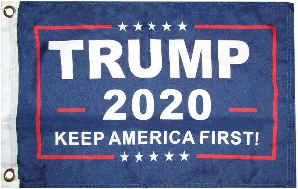 """3 Pack Trump 2020 Blue 100D 12/""""x18/"""" Stick Flag 30/"""" Wood Staff"""