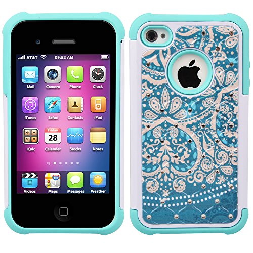 iPhone 4s Case, iPhone 4 Case, 4s Case, MagicSky [Shock Absorption] Studded Rhinestone Bling Hybrid Dual Layer Armor Defender Protective Case Cover For Apple iPhone 4/4S - Flower2 (Jeweled Iphone 4 Case)