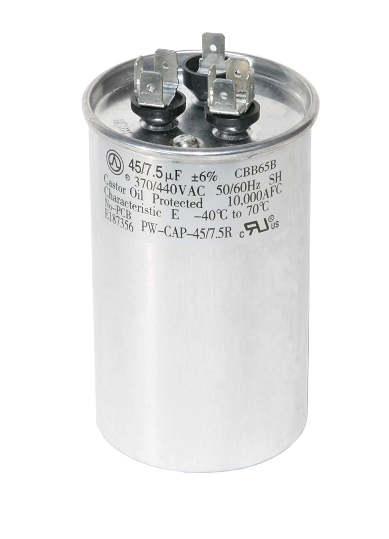 50+7.5 50//7.5 MFD uF Dual Run Capacitor 370V 440V VAC Motor Made in the U.S.A.