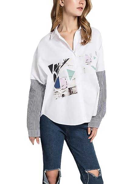Camisas Mujer Manga Larga Blancas Elegantes Estampadas Splicing Rayas Vintage Manga Larga De Solapa Botones Ancho Hippie Fashion Casual Camisa Blusa ...