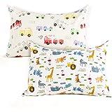 Kids Toddler Pillowcases-2 Pack Pillow Cover for Boys Girls Kids Bedding,Animal Paradise/Car