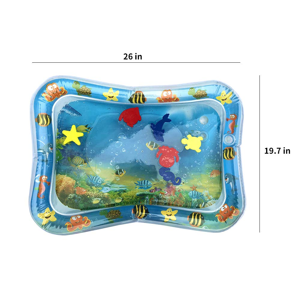 26 x 20 inch Exceed Inflatable Baby Water Mat Tummy Time Play Center Leakproof PVC Baby Playmat for Infants Toddlers 3 Months and Up