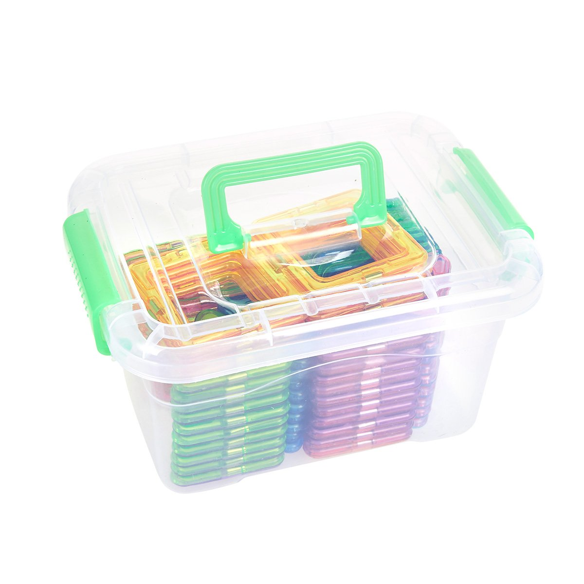 Construction Playboard Stacking Toy Juvale Magnet Building Tiles Educational Kit for Kids Assorted Colors 64-Piece Magnetic 3D Building Blocks Set with Storage Box