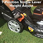 "Yard Force YOLMX225300 120V 2.5Ah x 2 Lithium-Ion 22"" SP 3-in-1 Mower Torque-Sense, One Size, Black/Orange 13 POWERFUL, RELIABLE PERFORMANCE + 5-YEAR WARRANTY: The 120vRX brushless motor has the torque of a gas engine to cut through all grass types and conditions with up to 100 minutes of runtime on a single charge with two batteries installed. Dual battery ports operate either battery when two are installed. When one is completely discharged, the sensor powers the other battery to keep you going. The mower operates with only one battery installed if you need to charge the other battery while cutting. TORQUE-SENSE TECHNOLOGY: Sensors built in to the motor receive feedback while you are cutting and sense when more power is needed for thick, dense or wet grass to increase the blade speed for a premium cut. This gives you power when you need it and saves energy when you don't to extend the runtime even longer. SELF-PROPELLED / SPEED ADJUSTABLE DRIVE: Step up to self-propelled power drive with a simple control lever on the handle to reduce effort and achieve a perfect cut every time! Adjust the speed with the touch of a lever at your fingertips. Self-propelled drive is essential for yards with hills and slopes of all degrees to maintain a consistent cut and is safer by providing more control during operation."