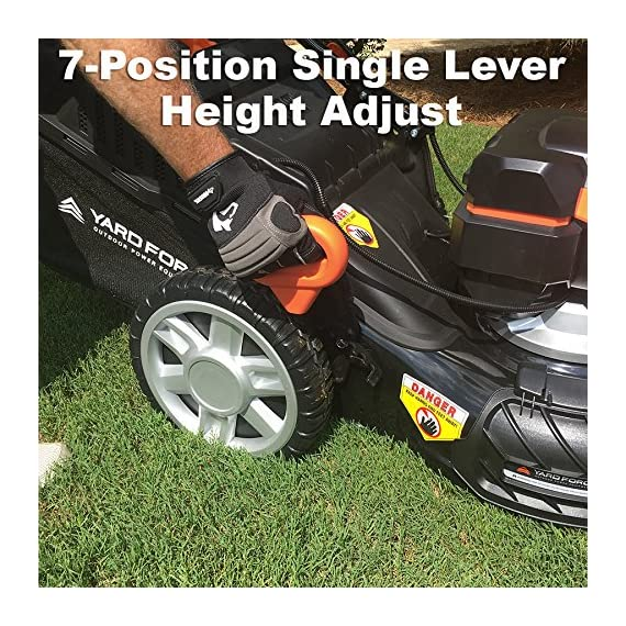 "Yard Force YOLMX225300 120V 2.5Ah x 2 Lithium-Ion 22"" SP 3-in-1 Mower Torque-Sense, One Size, Black/Orange 5 POWERFUL, RELIABLE PERFORMANCE + 5-YEAR WARRANTY: The 120vRX brushless motor has the torque of a gas engine to cut through all grass types and conditions with up to 100 minutes of runtime on a single charge with two batteries installed. Dual battery ports operate either battery when two are installed. When one is completely discharged, the sensor powers the other battery to keep you going. The mower operates with only one battery installed if you need to charge the other battery while cutting. TORQUE-SENSE TECHNOLOGY: Sensors built in to the motor receive feedback while you are cutting and sense when more power is needed for thick, dense or wet grass to increase the blade speed for a premium cut. This gives you power when you need it and saves energy when you don't to extend the runtime even longer. SELF-PROPELLED / SPEED ADJUSTABLE DRIVE: Step up to self-propelled power drive with a simple control lever on the handle to reduce effort and achieve a perfect cut every time! Adjust the speed with the touch of a lever at your fingertips. Self-propelled drive is essential for yards with hills and slopes of all degrees to maintain a consistent cut and is safer by providing more control during operation."