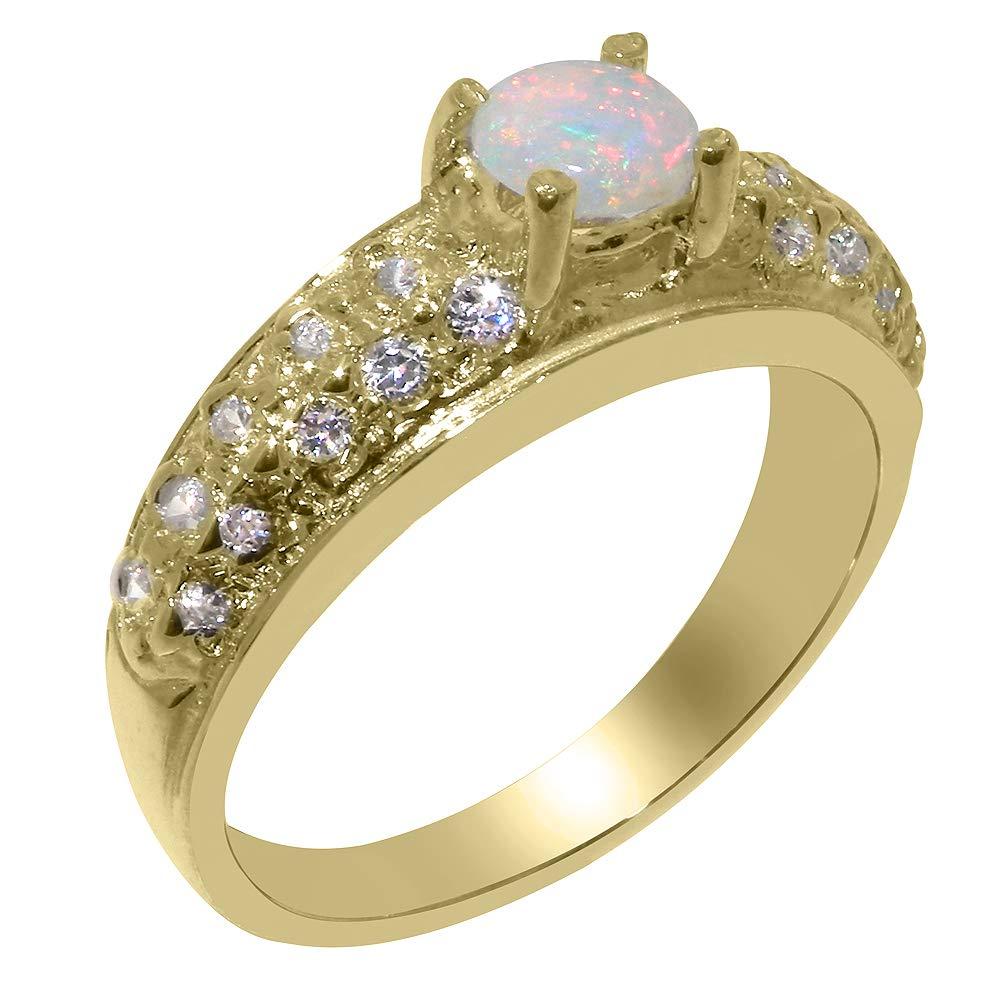英国製(イギリス製) K14 イエローゴールド 天然 オパール 天然 ダイヤモンド レディース リング 指輪 各種 サイズ あり   B07THKWYCT
