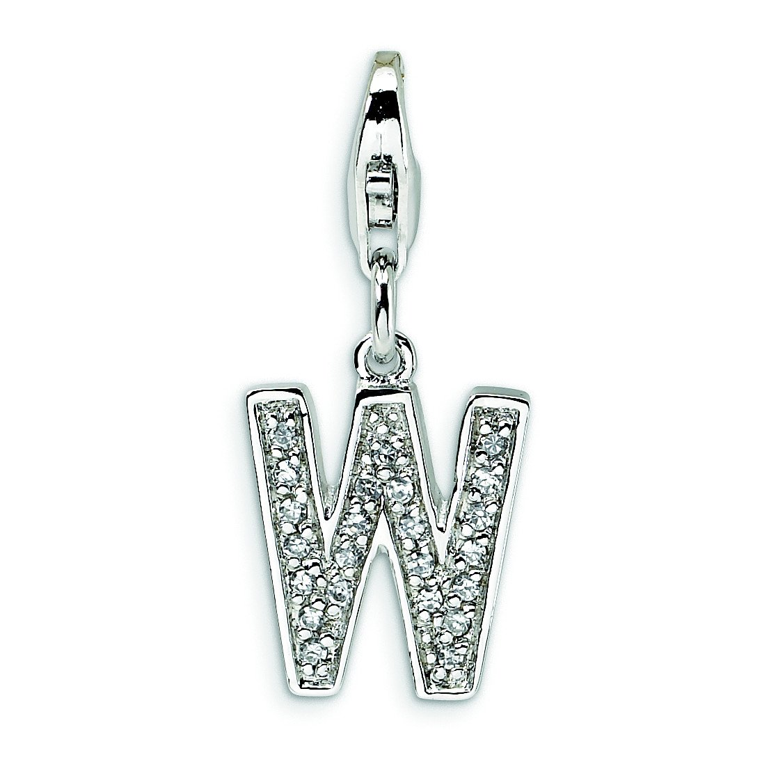 Sterling Silver Cz Letter W W/Lobster Clasp Charm