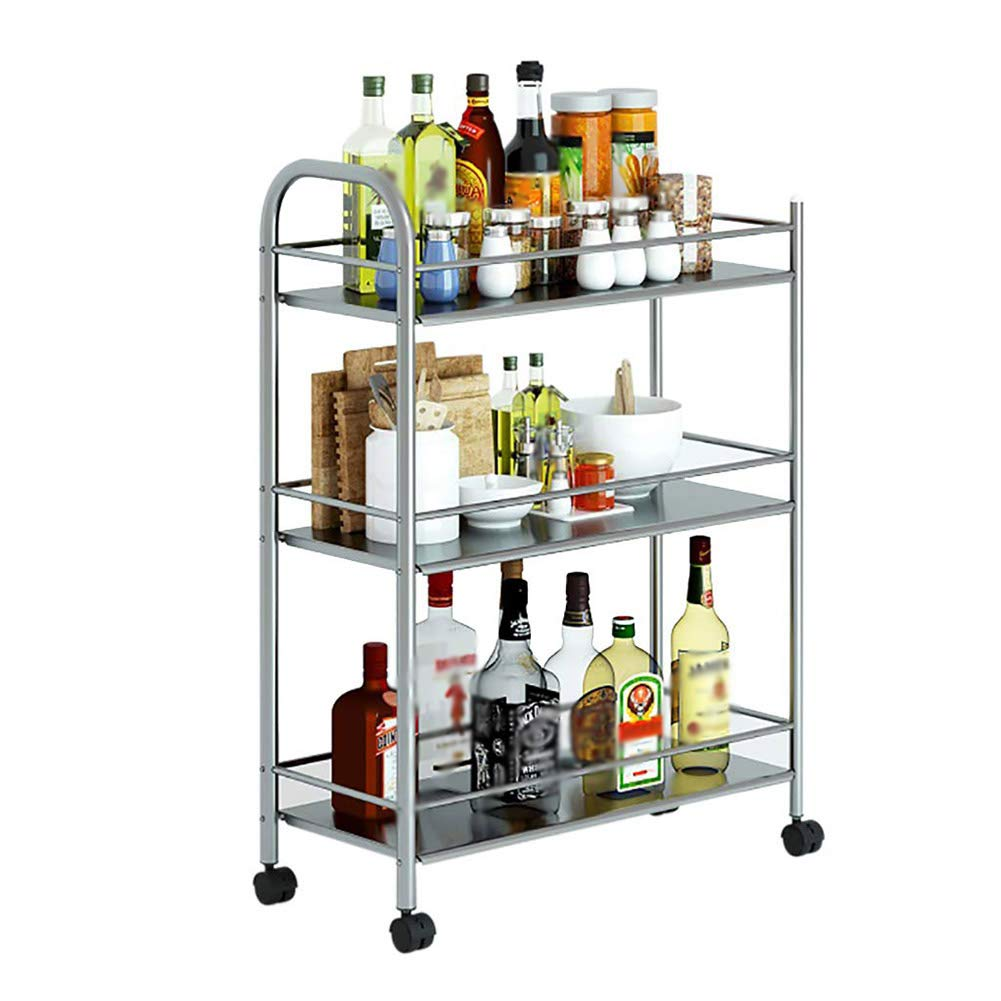 Stainless Steel Kitchen Cart Service Car Hotel Dining Car Movable Rack Wine Cart, 3-Layer Multi-Function, Universal Wheel