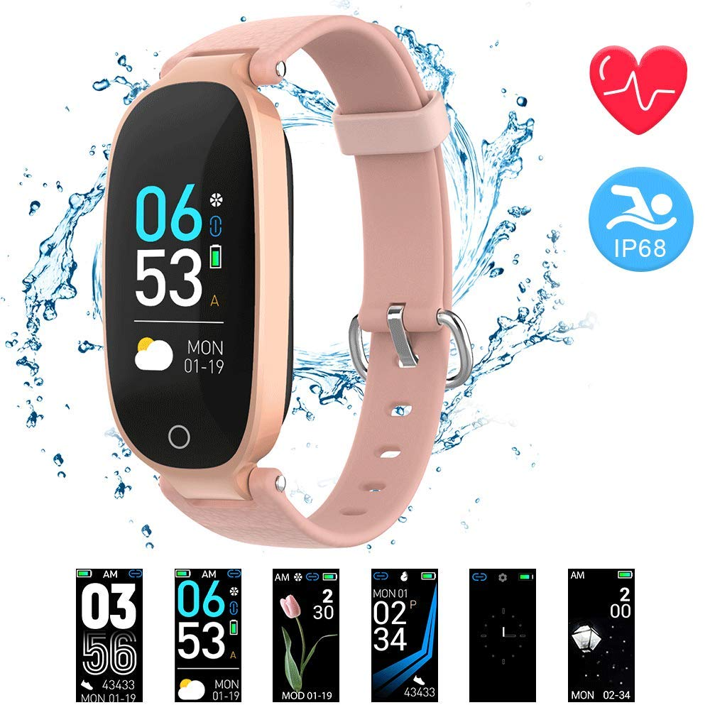 AGPTEK Fitness Tracker for Women, IP68 Waterproof Smart Bracelet with Upgraded Color Screen, 16 Sport Mode Heart Rate Monitor Sleep Monitor Pedometer Calorie, Compatible with Android and iOS(Pink)