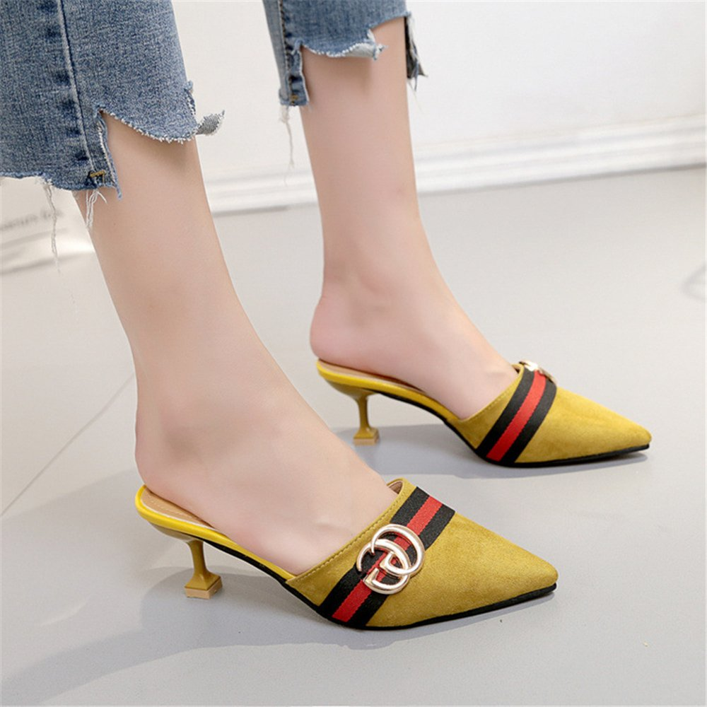 Pointed Toe Pump Bow Kitten Heel Mule Pump Toe Slip on Slide Shoes B07DN6FLYC 39/8.5 B(M) US Women|Yellow-1 a4f02c