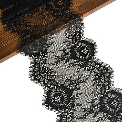 (LaceRealm 9 Inch Wide Eyelash Lace Fabric Floral Pattern Lace Trims for Sewing Dress Home Decor Fabric & Textile Paints (Black))