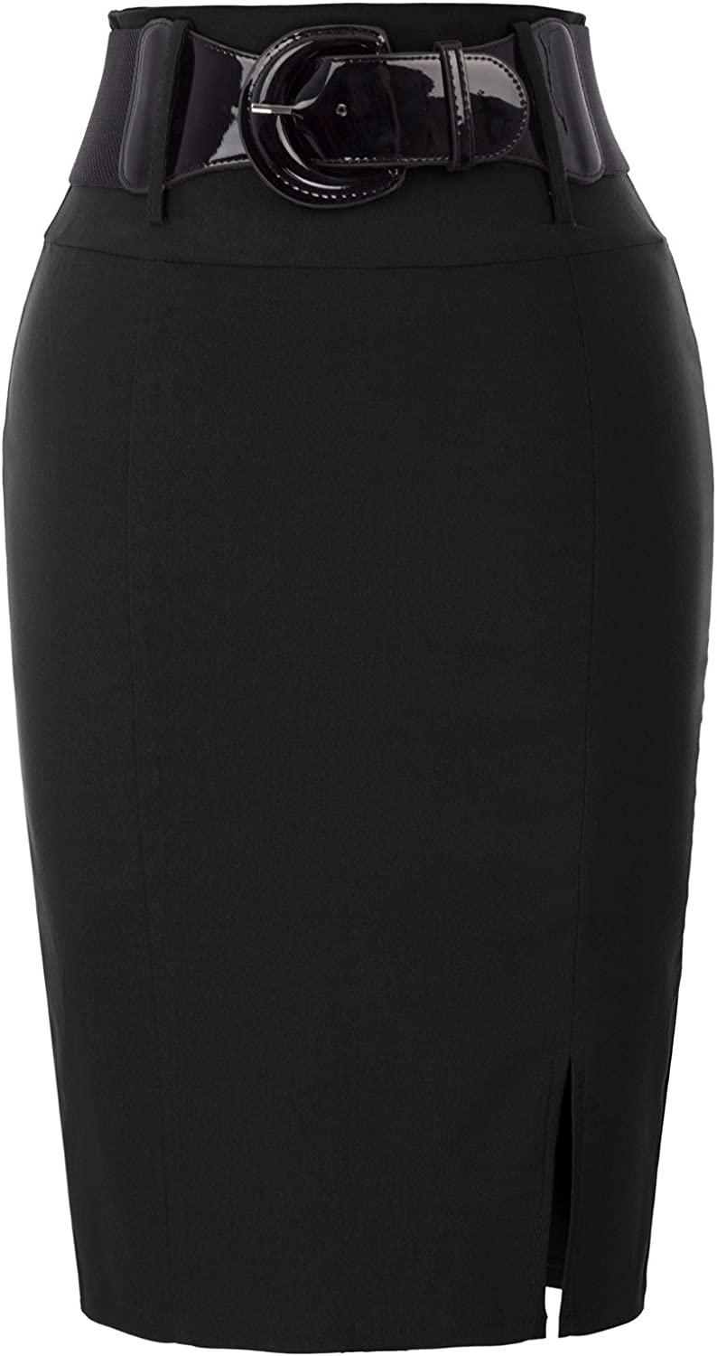 Belle Poque Women Wear to Work Bodycon Pencil Skirt with Belt Solid Color BP762