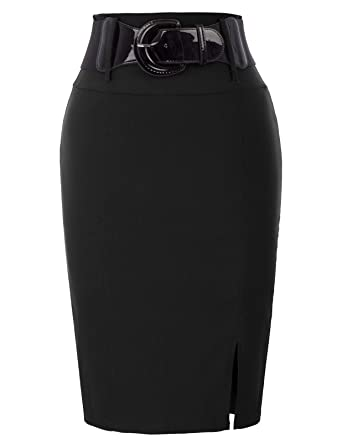 85fb54f3c Vintage Women 1950 Style Midi Hips-Wrapped Skirts for Business Party Black (762-