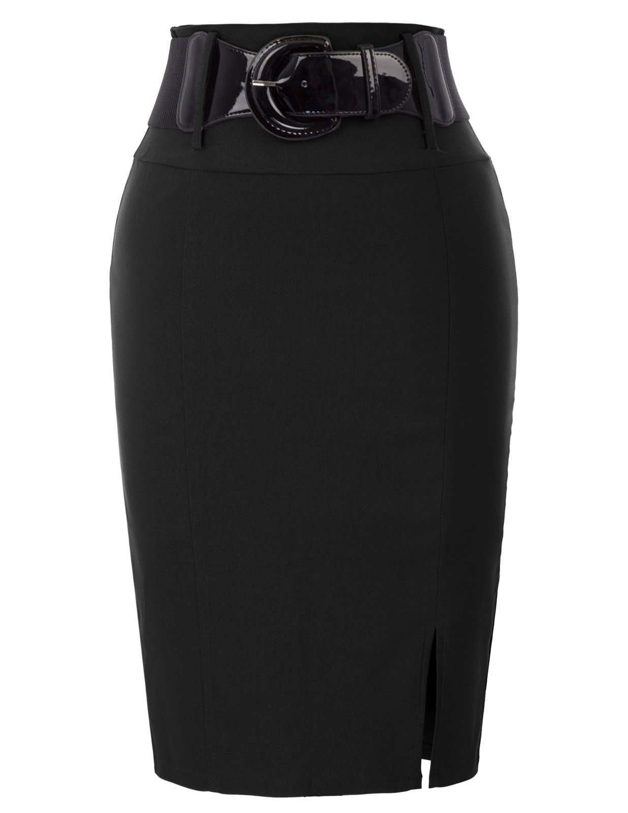 Belle Poque Plus Size Office Knee Length Skirts Black Size 2XL BP762-1