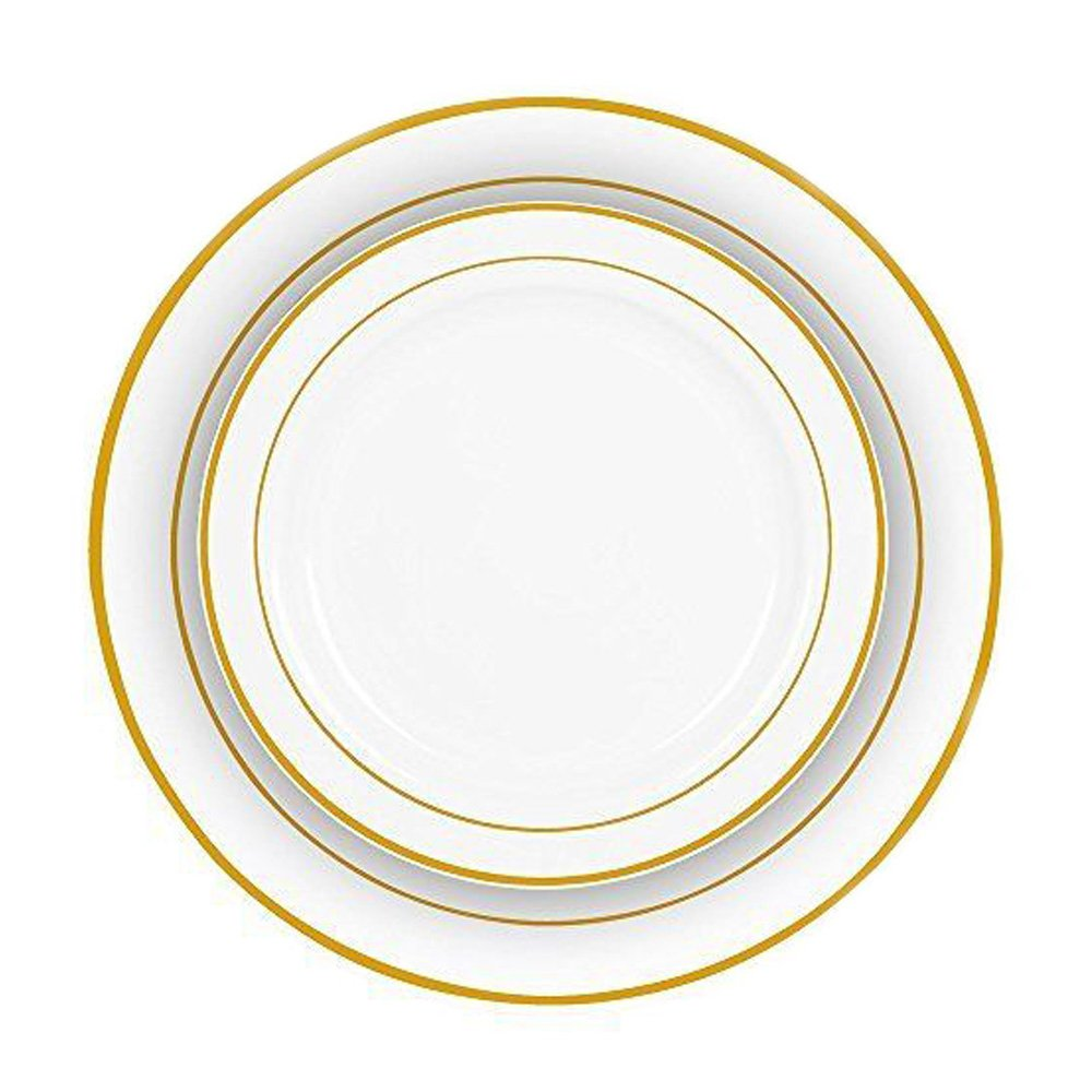 Amazon.com : Gold Rim Plastic Plates 240 Bulk Dinner Wedding Disposable Silverware Party! : Office Products
