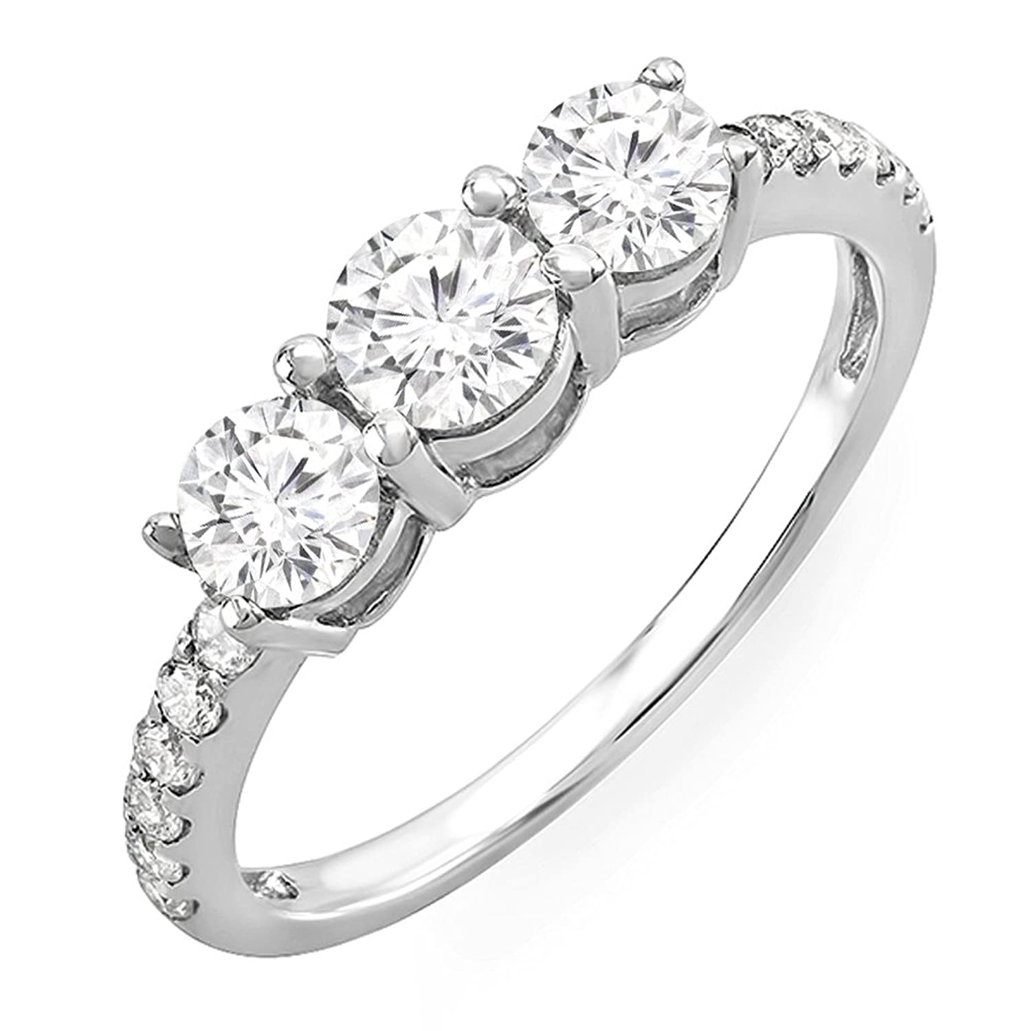 0.90 Carat (ctw) 14K White Gold Round Diamond 3 Stone Engagement Bridal Ring