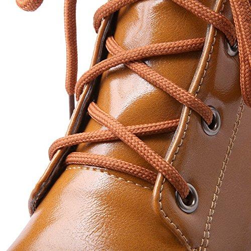 Amoonyfashion Womens Ronde Dichte Teen Lage Hakken Zacht Materiaal Low-top Solide Laarzen Geel