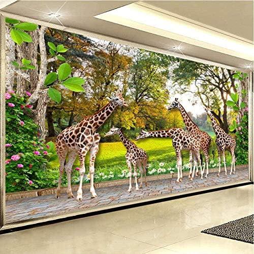 Clhhsy 剥離可能な3D壁画Hd動物の世界のキリンの森の写真の壁紙3Dステレオ背景壁壁画子供Sルームのリビングルームの家の装飾-250X175Cm