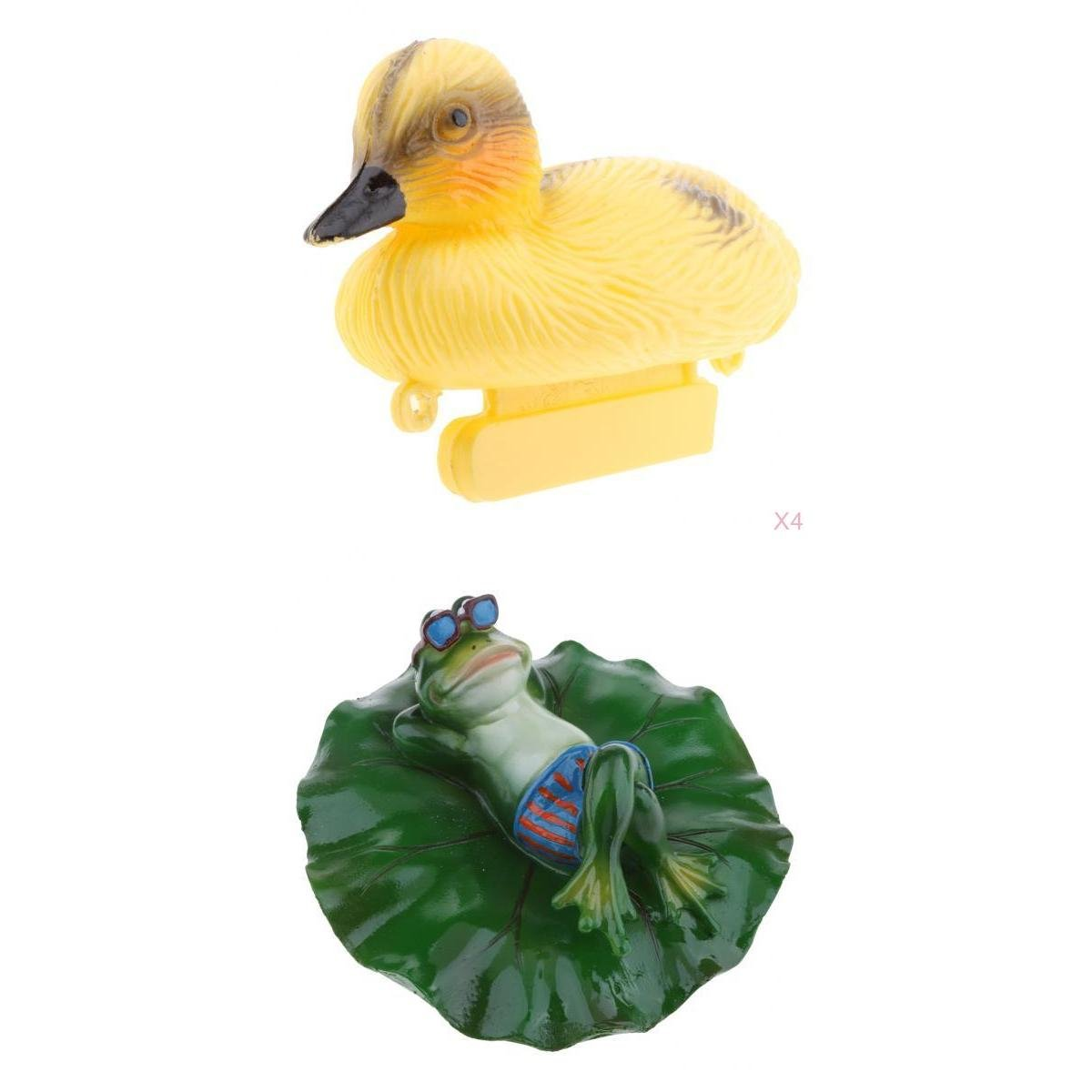 D DOLITY 5x Creative Animal Ornament Water Floating Duck Lying Frog on Lotus Leaf Figurine Resin Green Plants Kid Toys Fountain Decoration Garden Decor