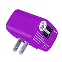Wall Charger Foldable Plug Portable UL Certified for iPhone 7 6S Plus 6 Plus 6 5SE 5S 5 5C 4S/Samsung Galaxy S7 S6 Edge/Note 7 5 4 S5 Smart Phone 2.1A/1A Dual USB Adapter