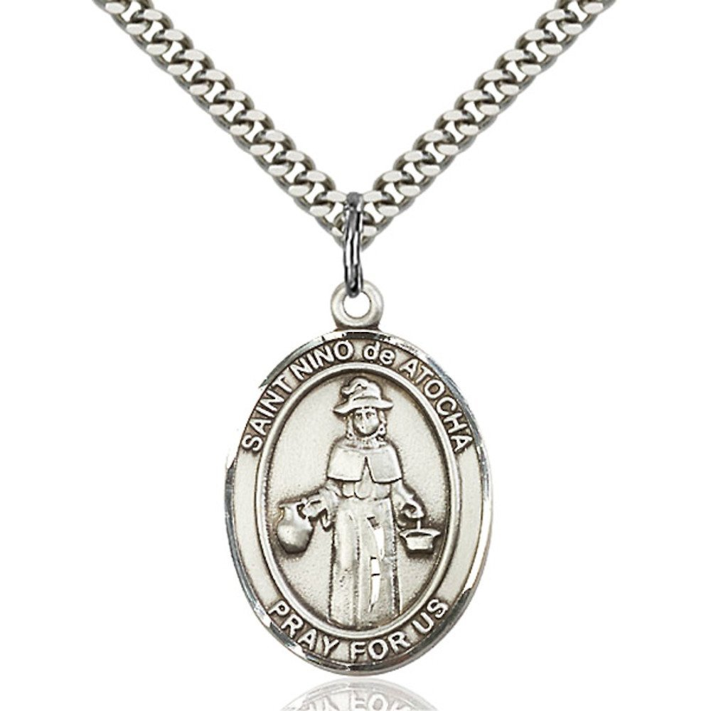 Nino de Atocha Hand-Crafted Oval Medal Pendant in Sterling Silver Bonyak Jewelry St