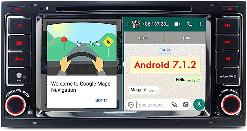 A Sure 7 Android 7 1 Autoradio Dvd Gps Auto Navigation Mirrorlink Wifi Wlan Bluetooth 4g Obd Dab Dvb T2 Usb Sd Lenkradsteuerung Für Vw Touareg Vw Transporter Vw T5 Multivan Set5j 2 Jahre Garantie Navigation