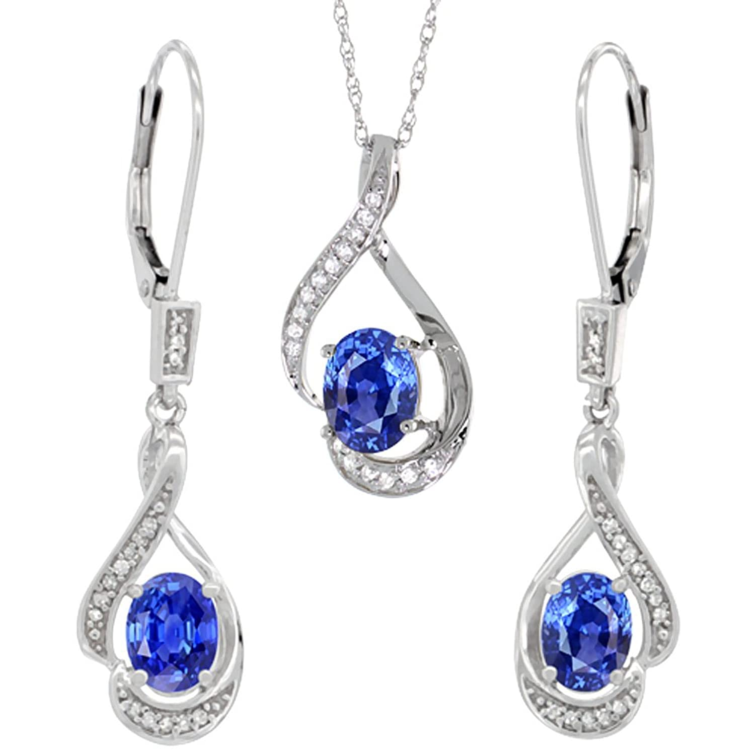 14K White Gold Diamond Natural Blue Sapphire Lever Back Earrings & Necklace Set Oval 7x5mm, 18 inch long