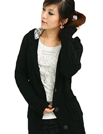 Halife Women's Hooded Knitted Sweater Belted Open Front Cardigan ...