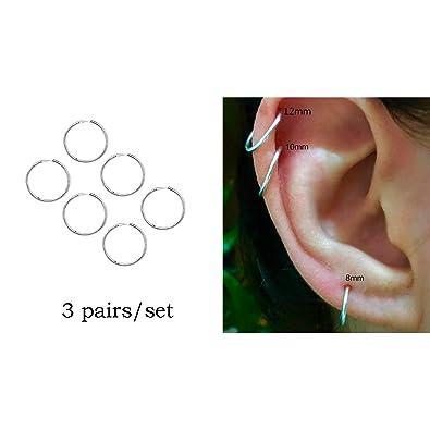 cce1ef3bf Ckysee Little Thin Cartilage Hoop Earrings Small Silver 8mm 10mm 12mm Hoops  Earrings Piercing Jewelry 12MM