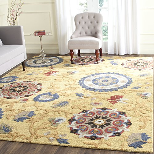 [Safavieh Blossom Collection BLM401B Handmade Floral Vines Gold and Multi Premium Wool Area Rug (4' x 6')] (Vine Wool Area Rug)