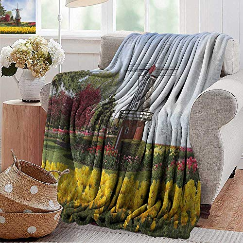 Flower Dutch Wholesale (XavieraDoherty Throw Blanket,Windmill,Serene Vast Traditional Garden with Blossoming Flowers Trees and Dutch Tulips, Multicolor,300GSM,Super Soft and Warm,Durable Blanket 60
