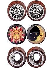 D&M Jewelry 6pcs 0G-3/4 Sun Moon Organic Wood & Acrylic Screw Ear Tunnels Plugs Expander Set