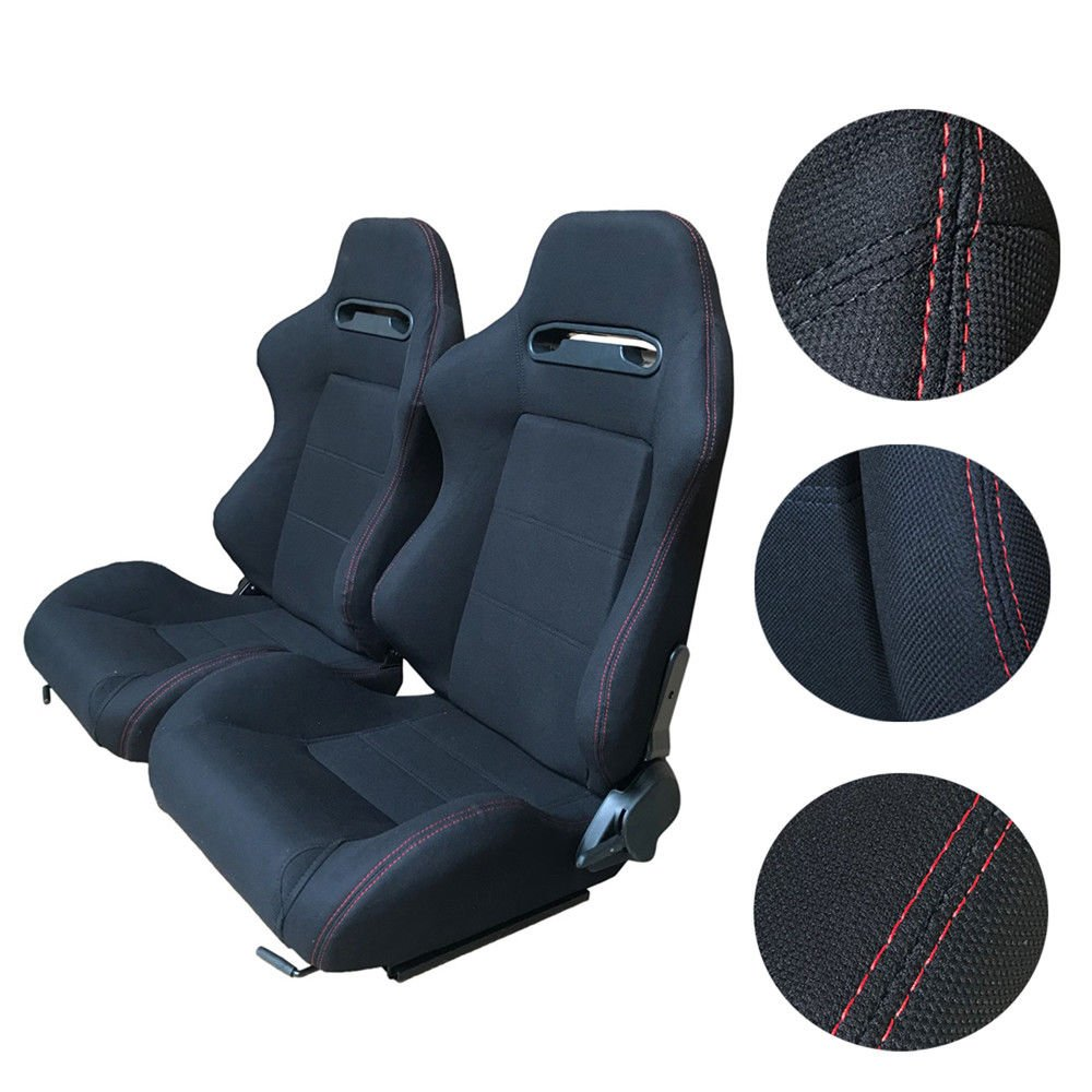 Autoforever Universal Fully Reclinable Racing Seat w//Adjustable Slider Brackets Set of 2 Fabric Black Passenger//Right Side