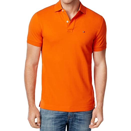a661420f Tommy Hilfiger Mens Custom Fit Mesh Polo Shirt (XL, Orange) at ...