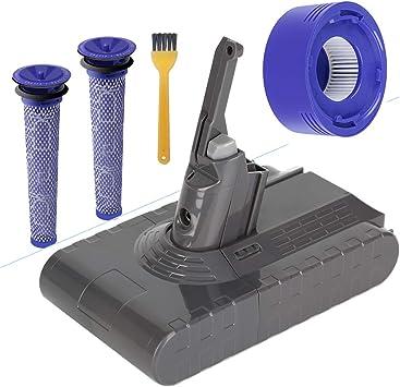BluePower Batería de Repuesto 21.6V 3500mAh para Dyson V8 Absolute Cord-Free Vacuum Handheld Vacuum Cleaner,2 Pre Filtros & 1 Post Motor HEPA filtro Ricambio per Dyson V8 inalámbrico aspiradora: Amazon.es: Electrónica