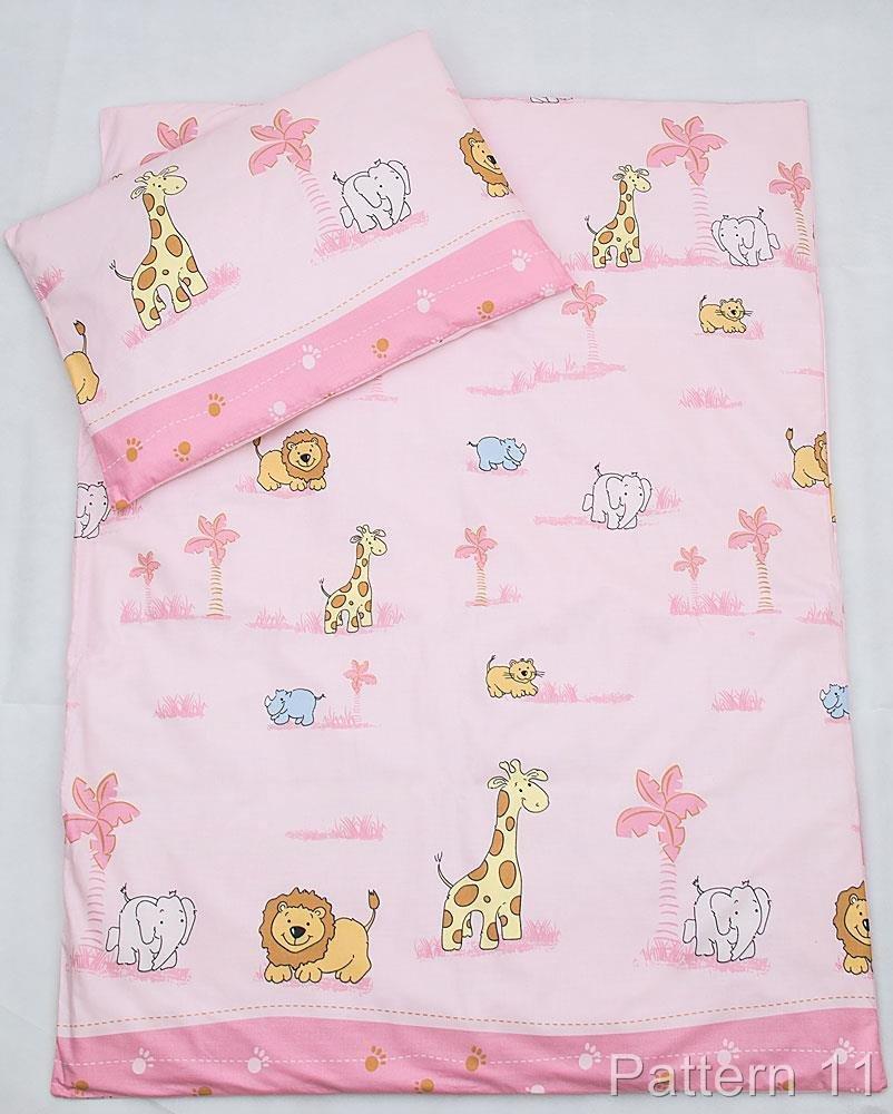 4 Pcs Cot Bedding, Duvet & Pillow Set, Duvet Size 120x90 cm - Pattern 11 Baby Comfort