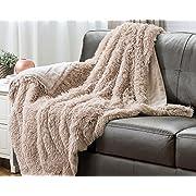 Bedsure Faux Fur Fleece Throw Blanket 50x60 Shaggy Camel Rustic Home Decor Bedding Blanket