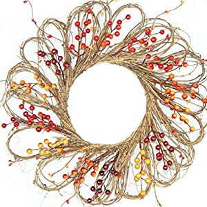 Forevercute 16-inch Berry & Twig Flower Shape Pip Wreath,Country Primitive Big Berries Wreath, Floral Craft Home Décor 2