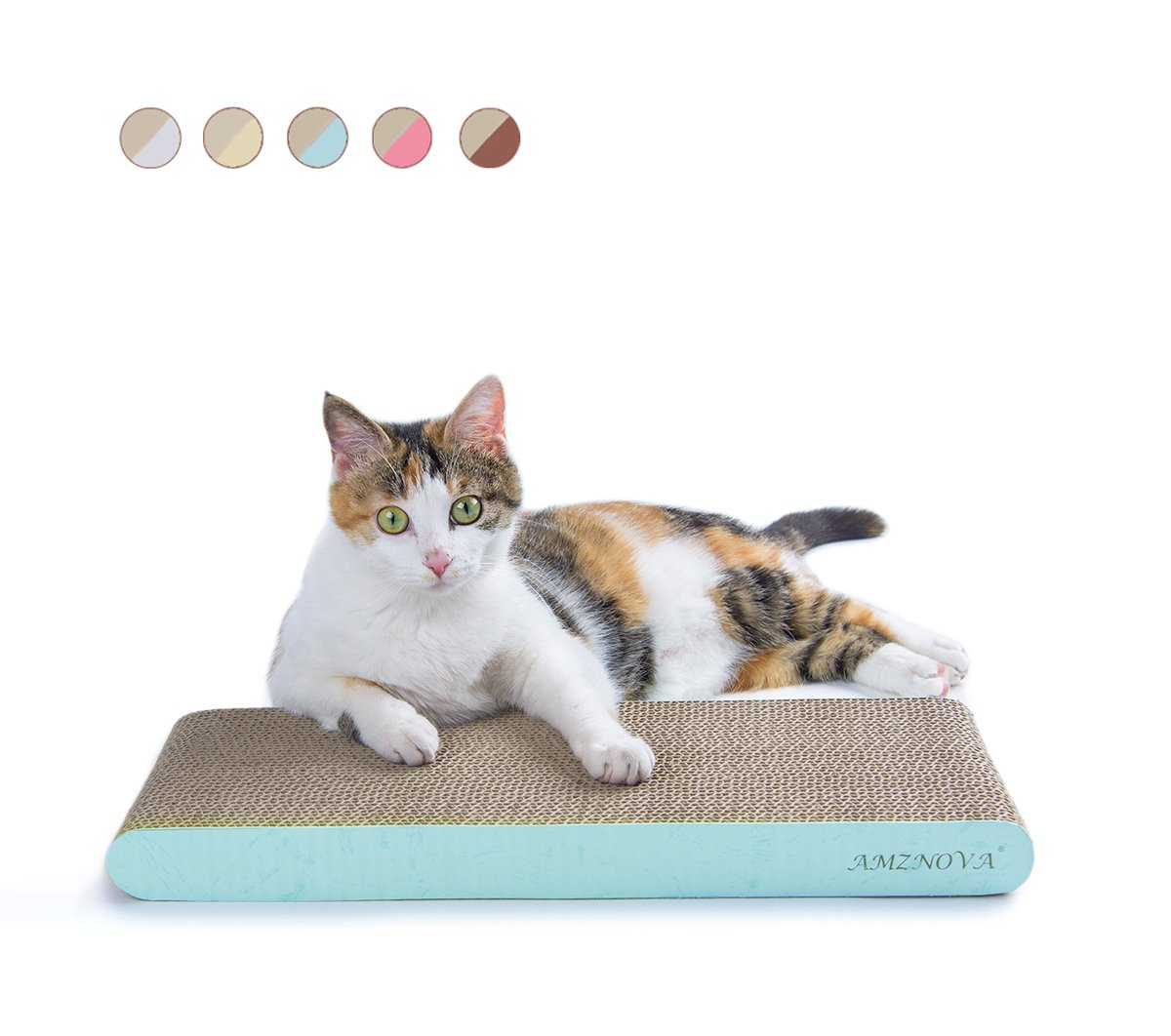 AMZNOVA Cat Scratcher, Scratching Pad, Durable Recyclable Cardboard with Catnip, Colors Series, 7 Colors & 2 Sizes 61qXioxn5lL