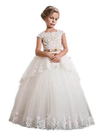 Pnehewery Long Ivory Flower Girl Dress Girls Prom Dress With Champagne Belt For Special Occasion (