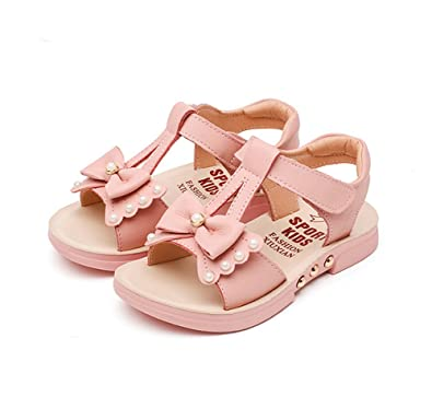 Baviue Bowknot Pearled Leather Summer Sandles Sandals for Girls