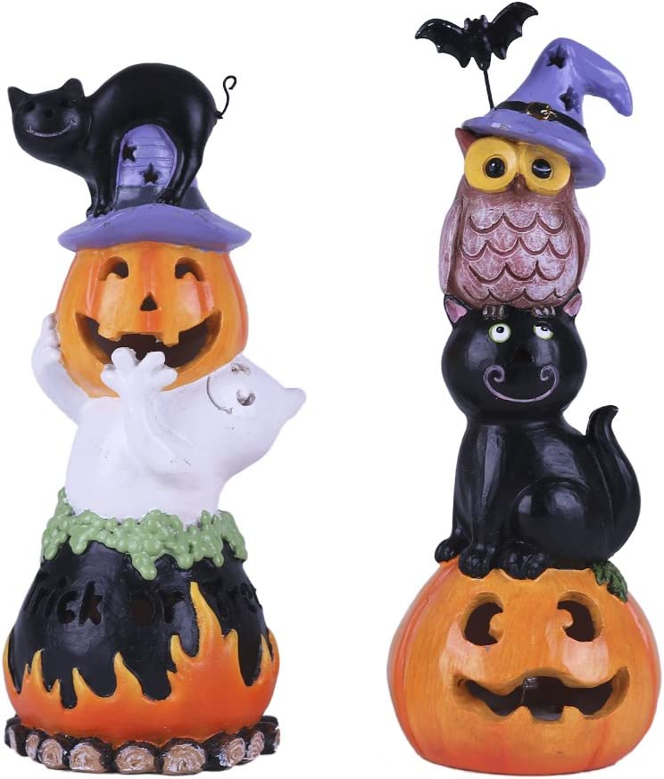 Happy Halloween Decorations Pumpkin, Resin Halloween Figurines with LED Lights for Indoor and Outdoor, Set of 2 for Halloween Party Decoration, 8 Inch Tall