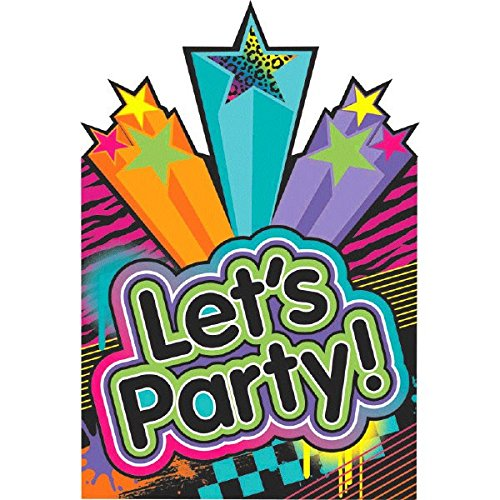 Amscan Awesome 80's Party Postcard Invitation with Seals Kit, Paper, 6 X 4, Pack of 8 Party Supplies -