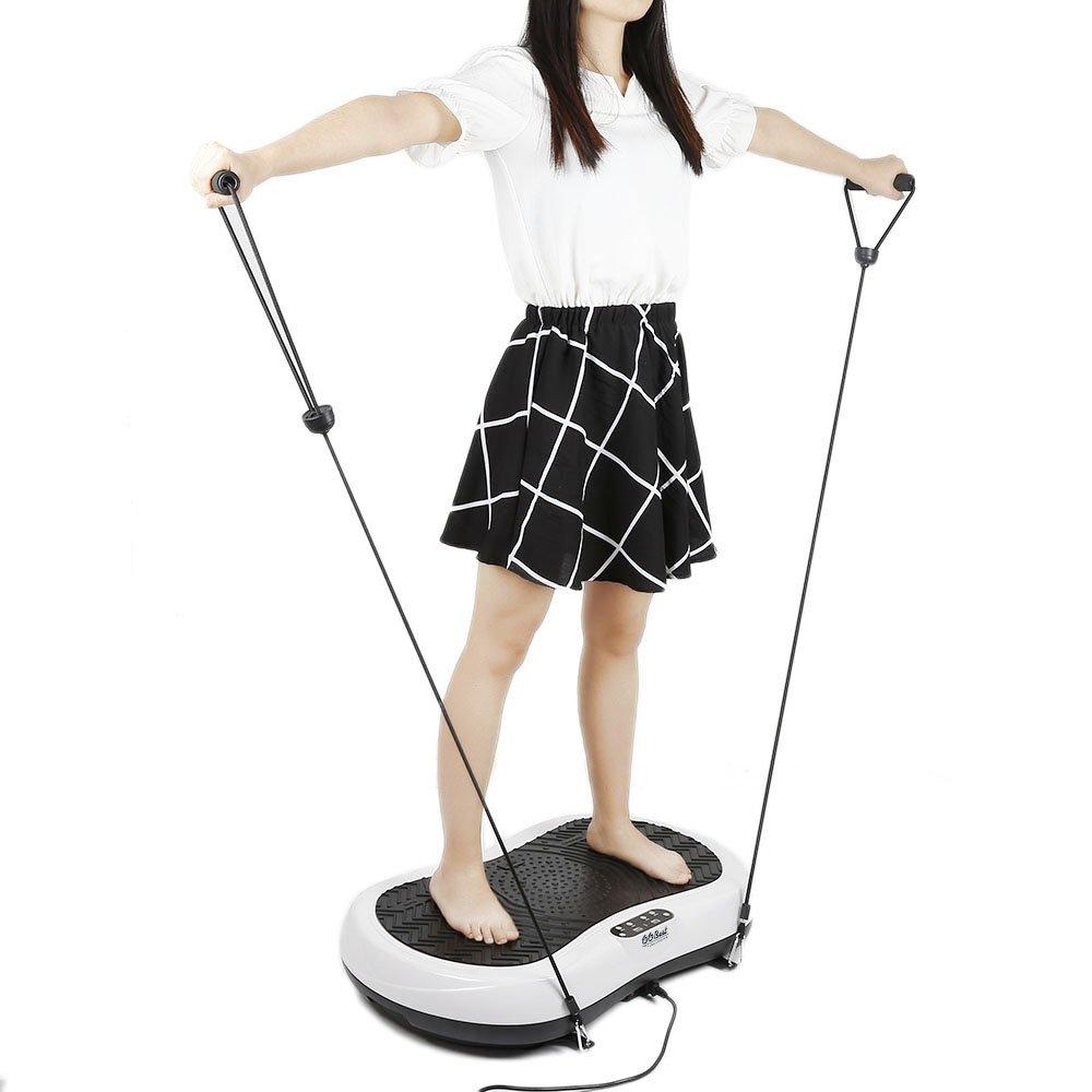 Flyelf Fitnessplatte Vibrationstrainer,200W Profi Vibrationsplatte mit Trainingsbänder+Fernbedienung+LCD Display,Schwarz + Rot
