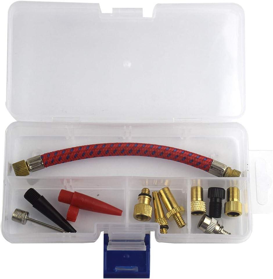 Uokoki 11pcs Set de pneus Pompe dextension Flexible dair Aiguilles Pompe v/élo gonfleur Kit connecteur Outils Gonflage