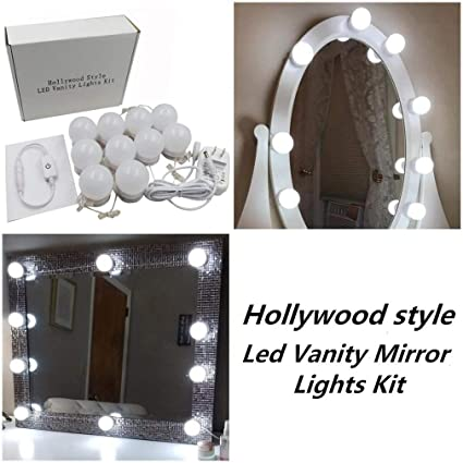 Mirror with lighting Diy Hollywood Style Led Vanity Makeup Mirror Lights Kit With 10 Dimmable Bulbs Lighting Fixture Strip Alexiahalliwellcom Hollywood Style Led Vanity Makeup Mirror Lights Kit With 10 Dimmable
